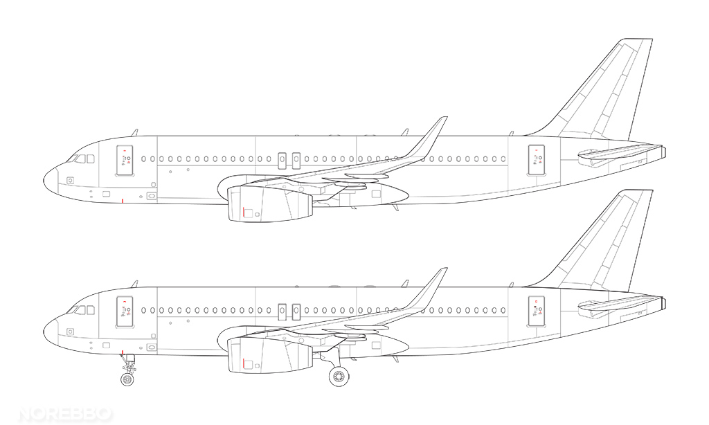 v2500 a320 line drawing with sharklets
