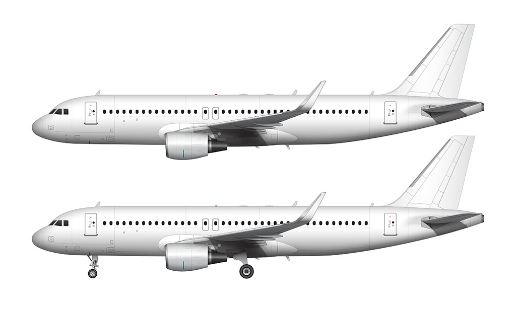 white a320 with sharklets