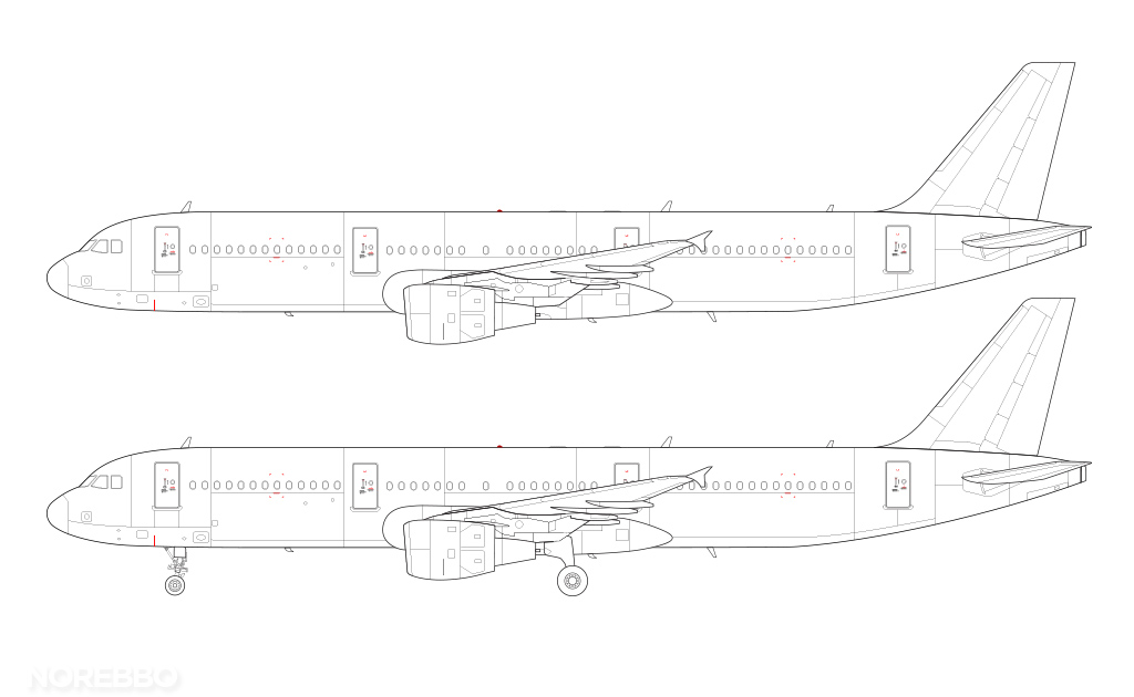 a321 line drawing with cm56 engines