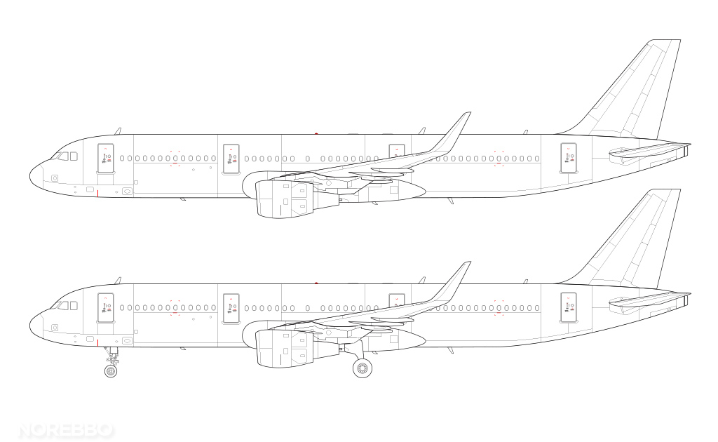 A321 side view line drawing