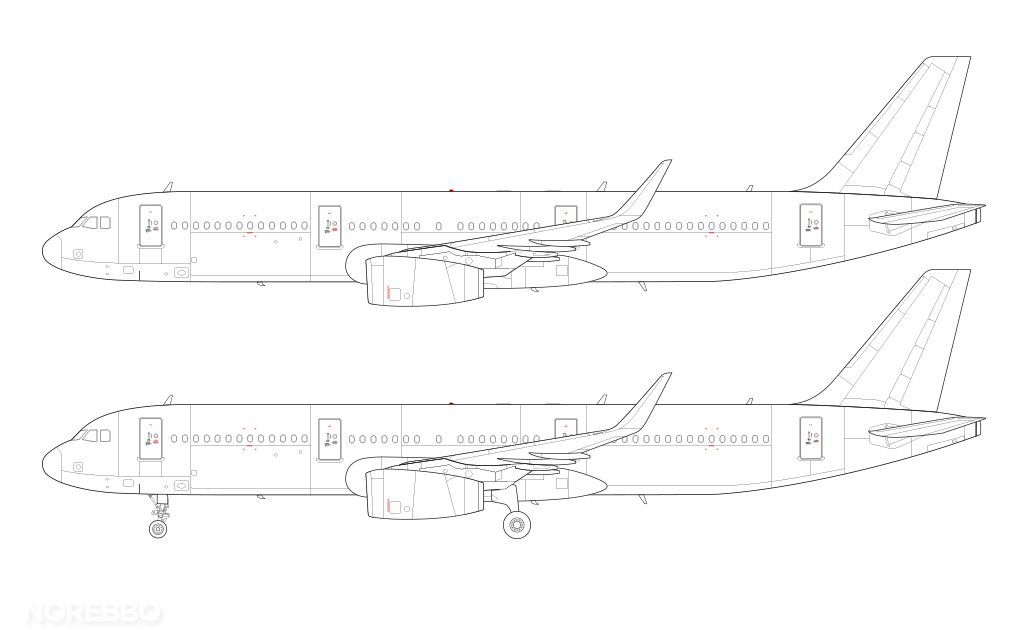 A321 with sharklets line drawing