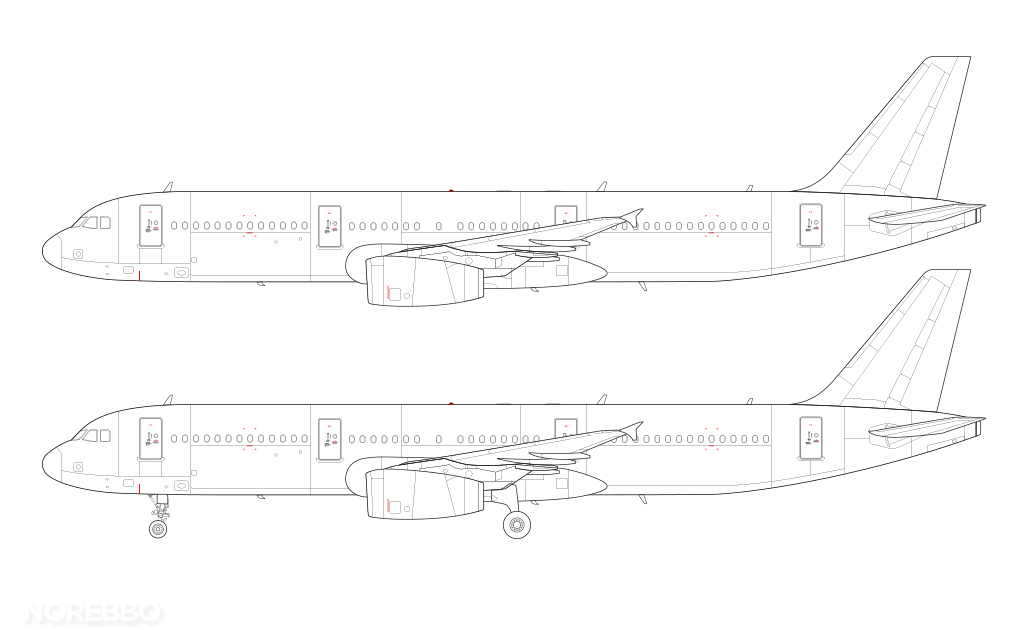 A321 line drawing v2500 engines