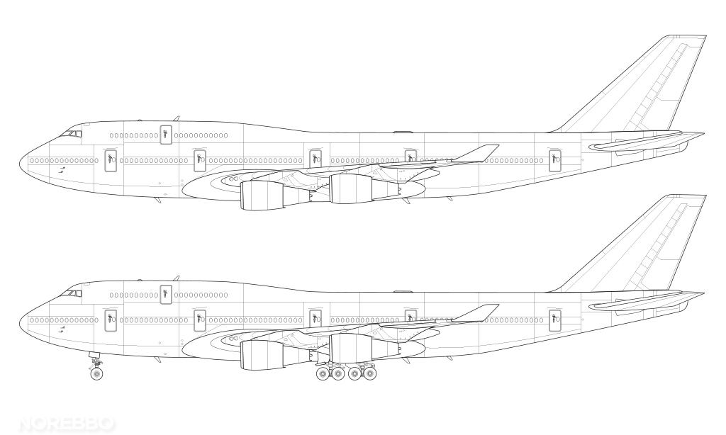 Boeing 747-400 technical line drawing