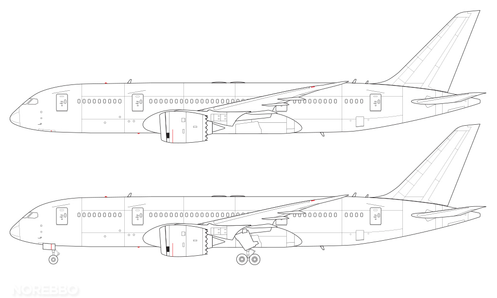 787-8 technical line drawing