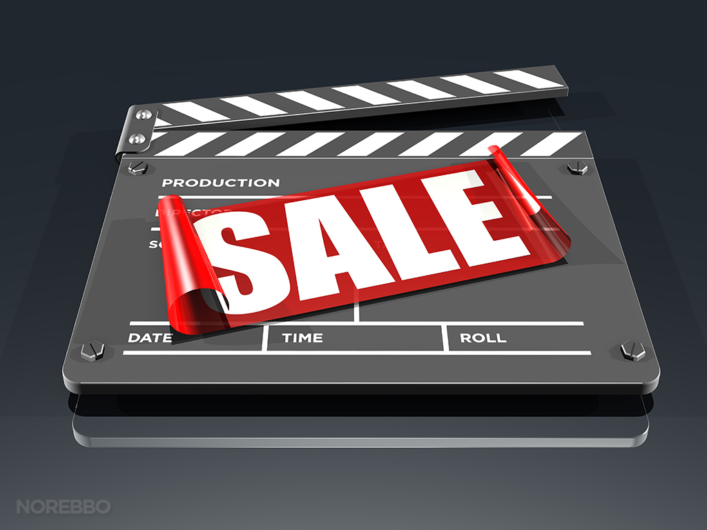 movies on sale stock photo