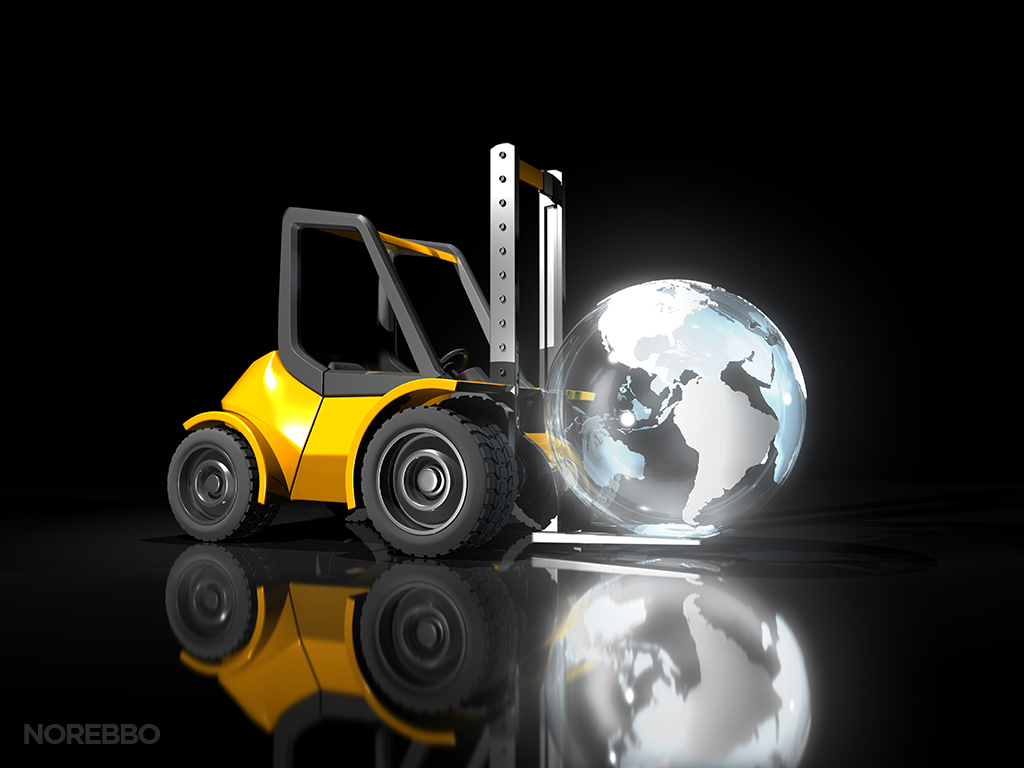 forklift and globe