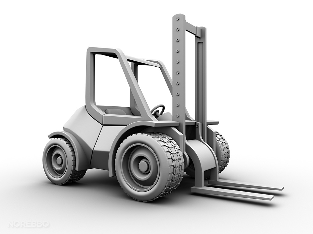 all white forklift 3d model