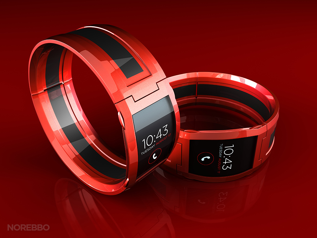 red smart watch