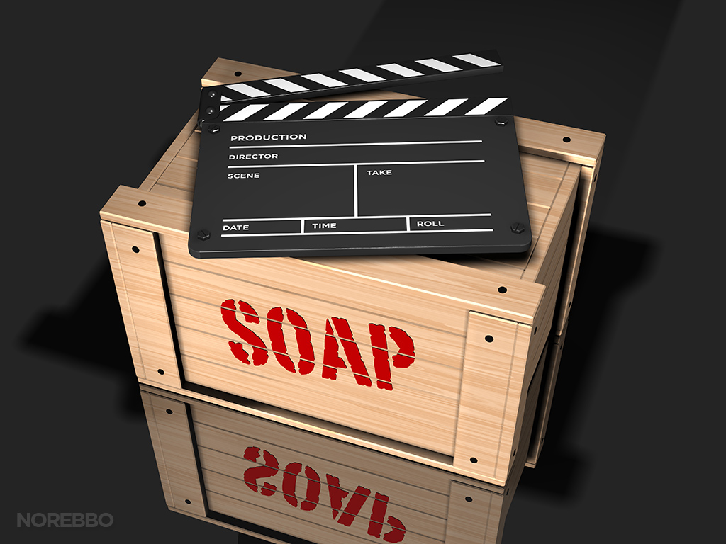 clap board on a soap box stock photo