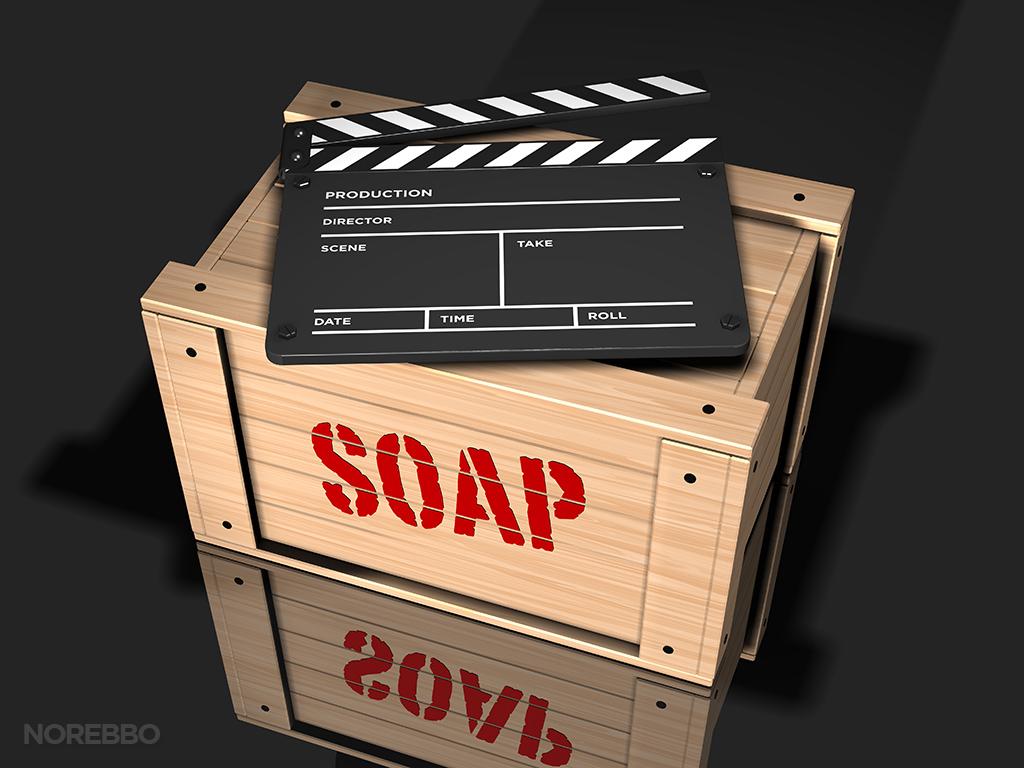 clap board on a soap box stock photo
