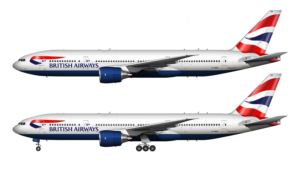 british airways 777 side view illustration