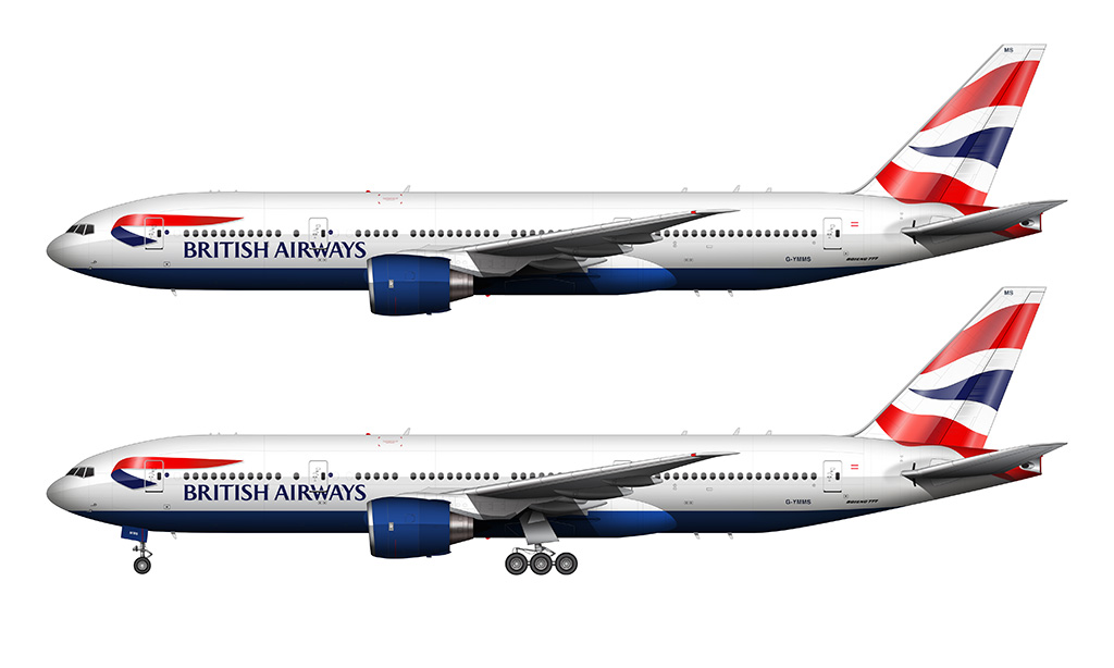 British Airways Boeing 777-236/ER side view no background