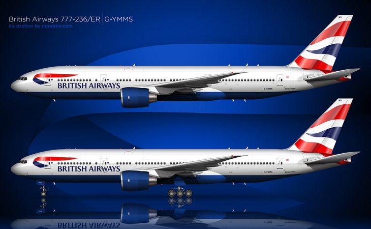 British Airways Boeing 777-236/ER side view
