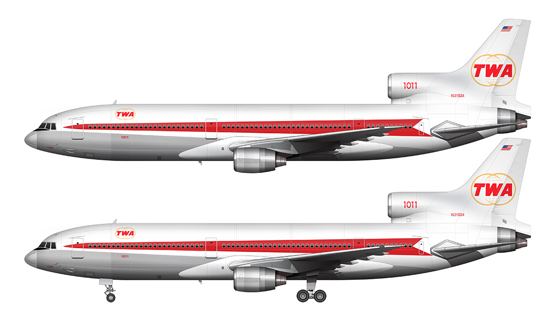 side view TWA L-1011 star stream livery