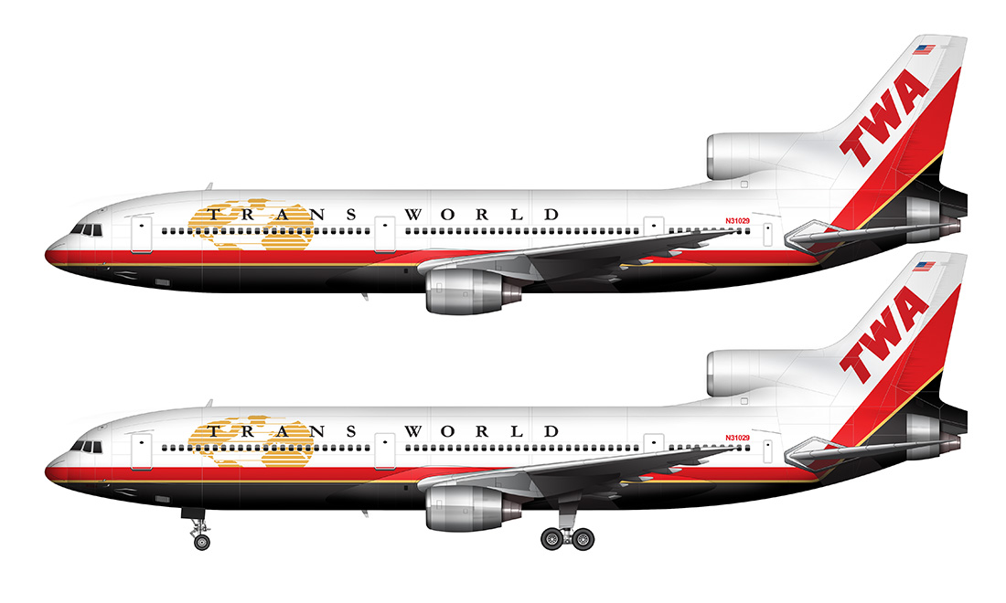 TWA L-1011 in the new livery side view