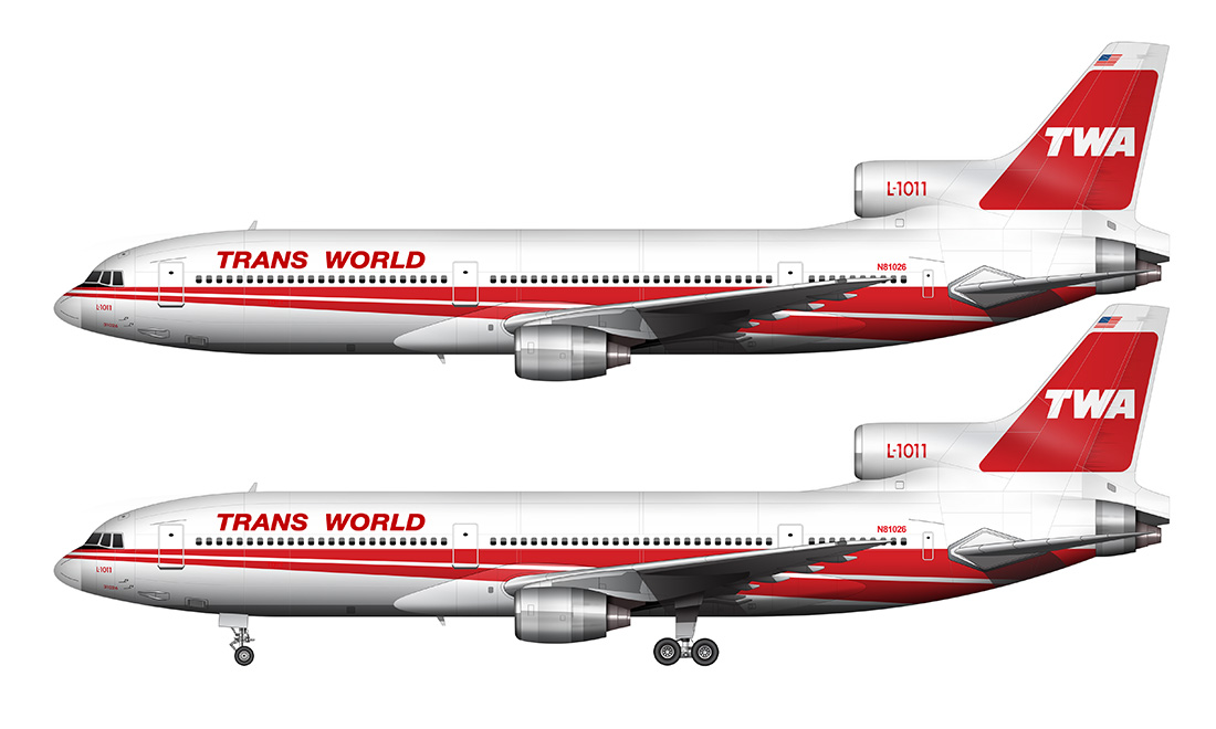 side view TWA L-1011 illustration