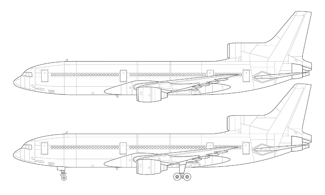 lockheed l-1011 detailed line drawing