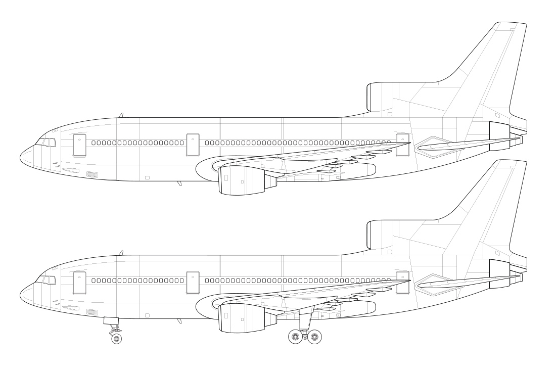 lockheed l-1011 side view line drawing