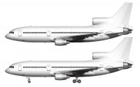 all white lockheed l-1011 tristar side view