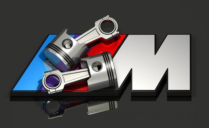 BMW M logo with engine pistons