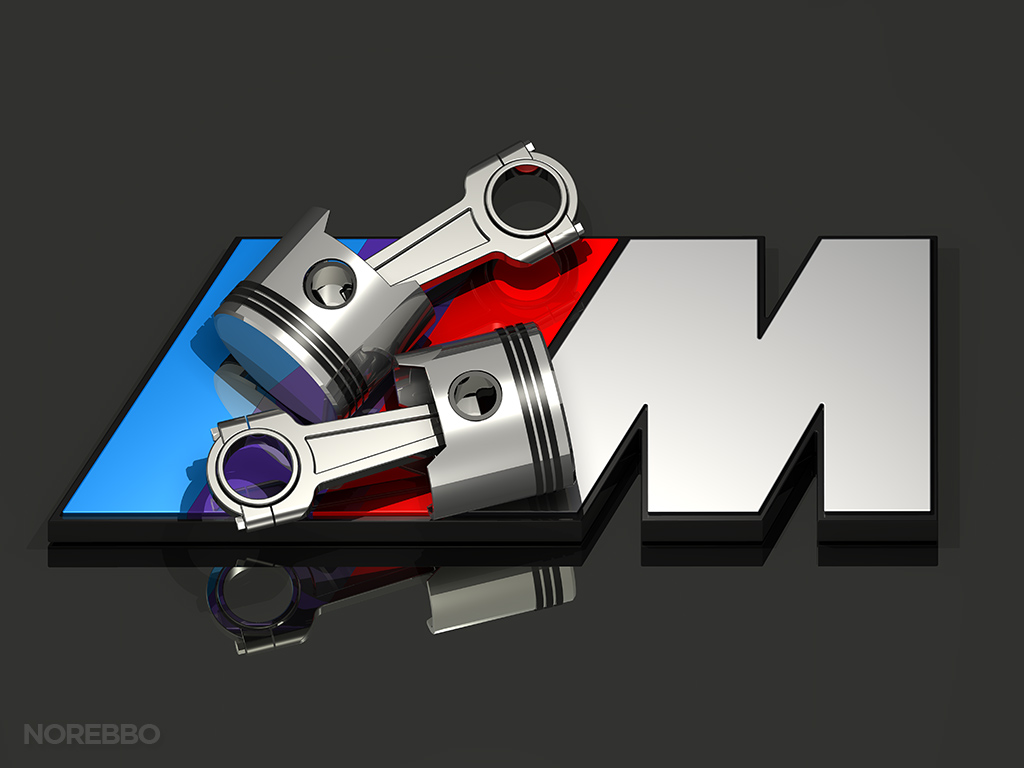 BMW M logo with engine pistons
