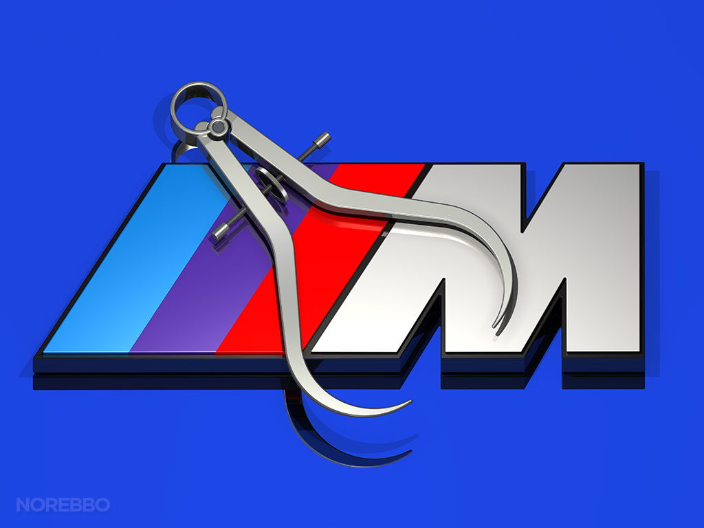 BMW M logo with precision calipers
