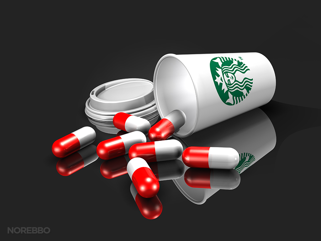 starbucks coffee cup with pills spilling out