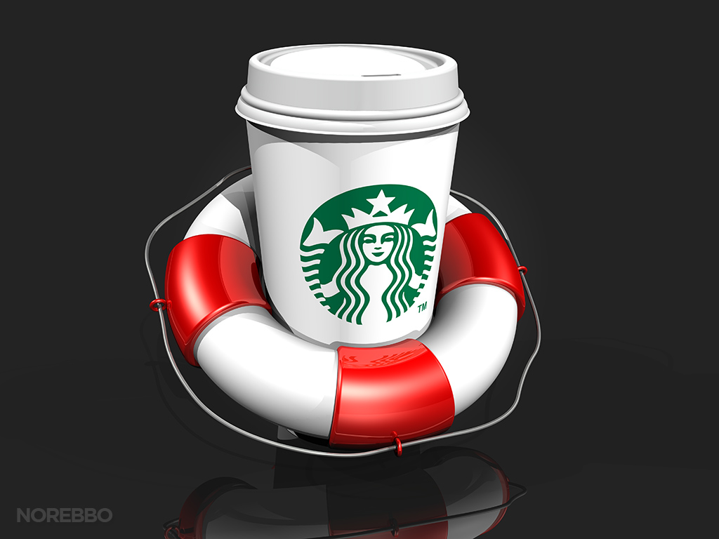 starbucks coffee cup and lifesaver