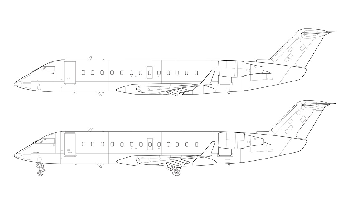 CRJ-200 line drawing side view