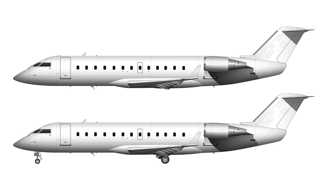 CRJ-200 all white side view