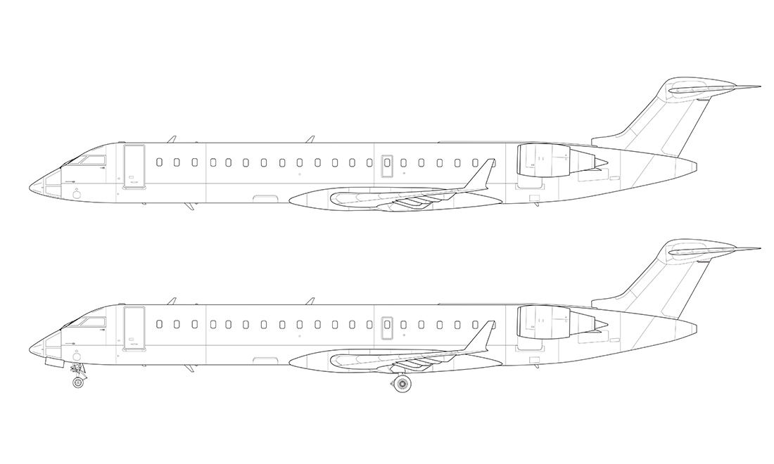 crj-700 side view line drawing
