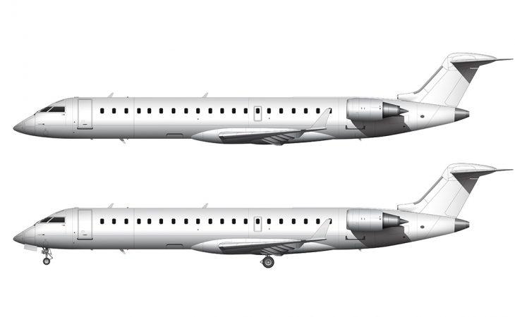 crj-700 regional jet side view template