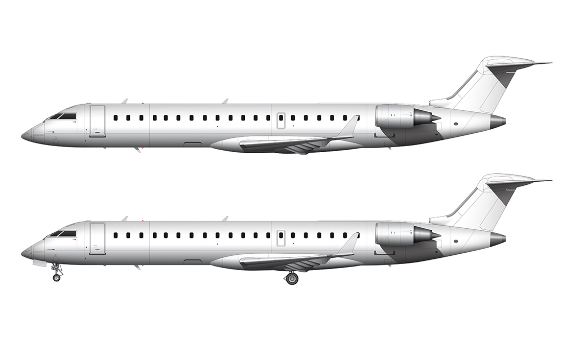 crj-700 regional jet side view template