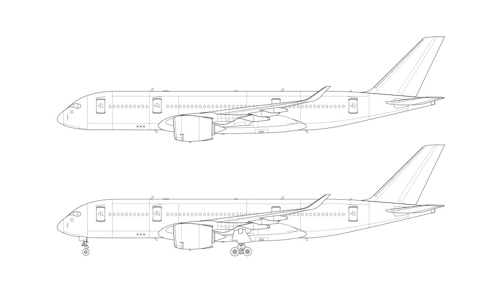 Airbus A35-800 side view line drawing