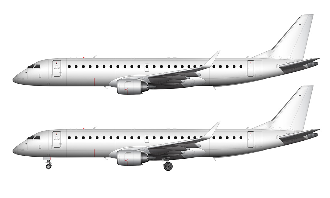 erj-190 blank side view template