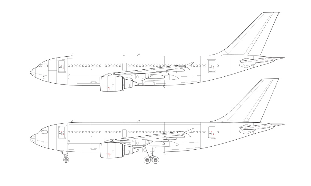 a310 side view line drawing