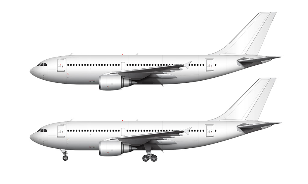 airbus a310 side view all white