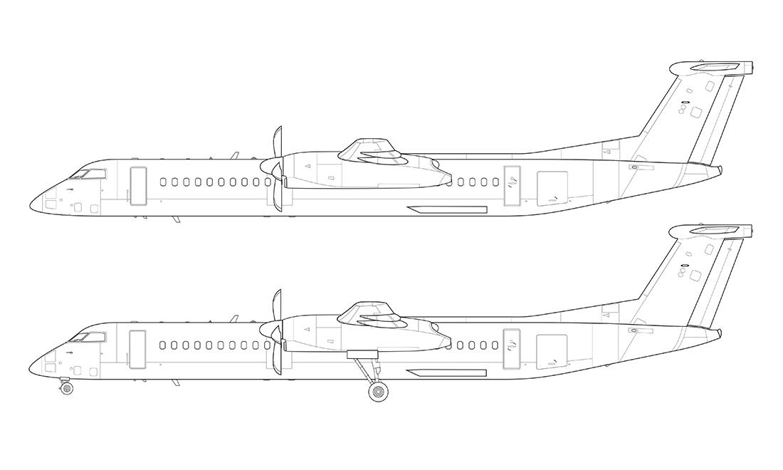 dash 8 q400 line drawing