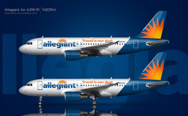 allegiant air a319 over blue background
