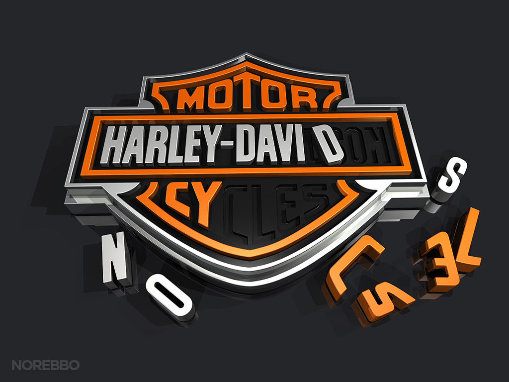 Harley Davidson logo with puzzle piece letters