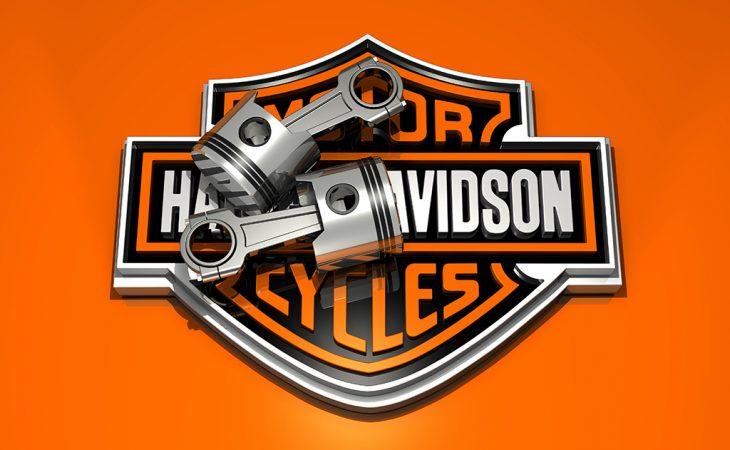 3d harley davidson logo and engine pistons