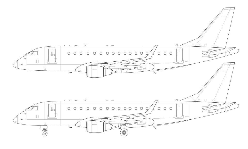 erj-175 line drawing template side view