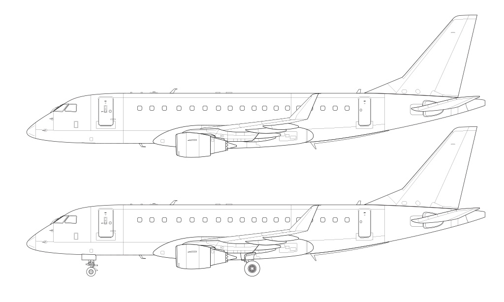 erj-175 new winglet line drawing