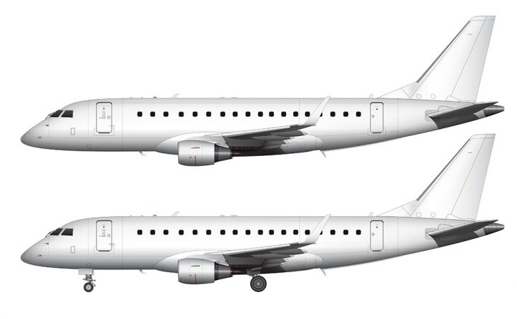 embraer 175 template all white side view