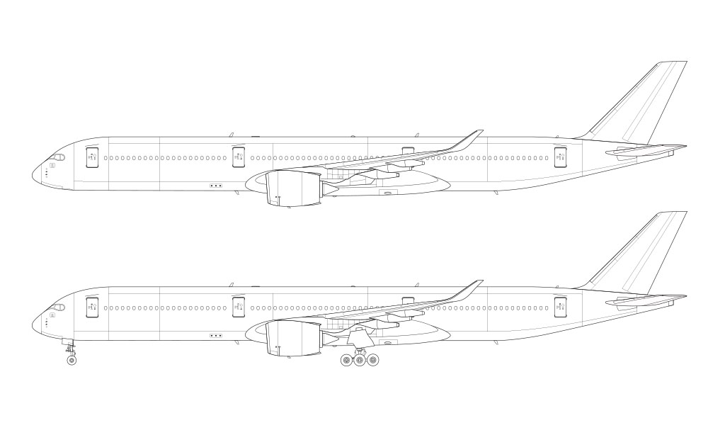 Airbus A350-1000 blank illustration templates – Norebbo