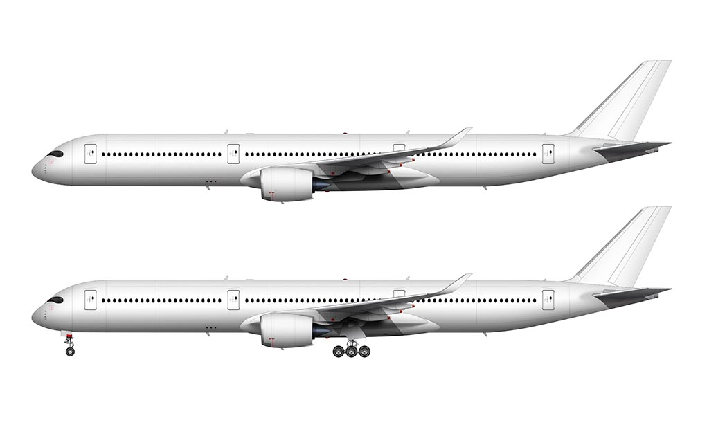 airbus a350-1000 side view white
