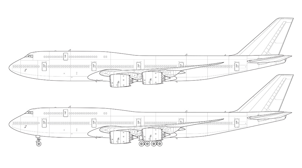 747-8i line drawing side view