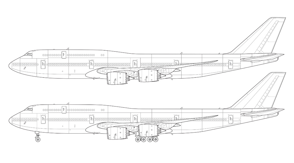 boeing 747-8i line drawing side view