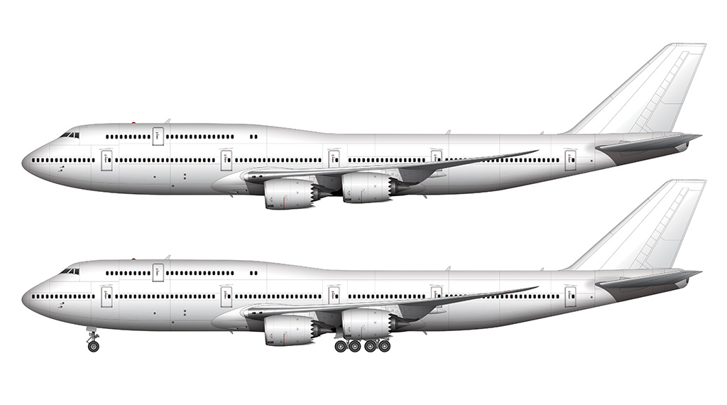 boeing 747-8i side view drawing