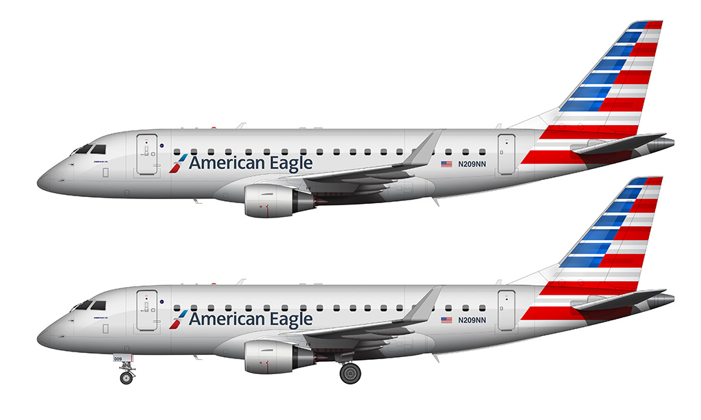 American Eagle erj-175 transparent background